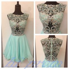 Mint Homecoming Dress,Beading Homecoming Dresses,Tulle Homecoming Gowns,Homecoming Dress,Short Prom Gown,Cocktail Dress,Sweet 16 Dresses