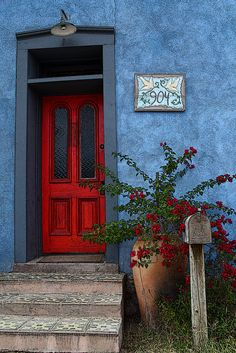 The Red Door by Dave Peterman on Capture My Arizona // A Colorful door in the Tucson Barrio