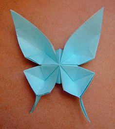 Butterfly Blue Origami Paper - http://www.ikuzoorigami.com/butterfly-blue-origami-paper/