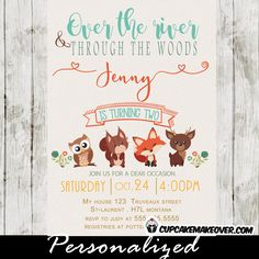 Over the River and Through the Woods! Woodland creatures birthday party invitations featuring adorable forest animals owl, squirrel, deer and fox. Perfect Woodland birthday invitation for boys or girls. #cupcakemakeover