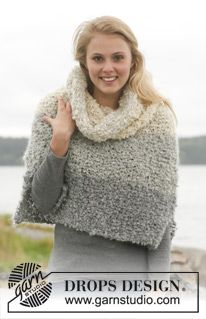 "The Mist - Set consists of: Knitted DROPS poncho and detachable collar with stripes in ""Puddel"". Size: S - XXXL. - Free pattern by DROPS Design Capelet Knitting Pattern, Sweater Knitting Patterns, Knitted Poncho, Knitted Shawls, Knitting Designs, Knitting Stitches, Free Knitting, Drops Design, Shawl"