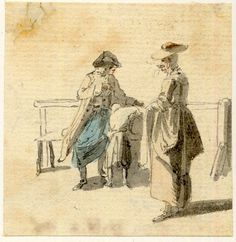 Recto Group by a bench, one of the figure sketches made in Edinburgh and the neighbourhood after the rebellion of a man and a boy, and a woman smoking a pipe Pen and grey ink and grey wash, with watercolour © The Trustees of the British Museum Caricature, Observational Drawing, 18th Century Costume, British Garden, Figure Sketching, 18th Century Fashion, Historical Women, Gravure, British Museum