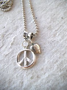 Silver Peace Sign & Heart Necklace, Silver Ball Chain, Heart Jewelry, Peace Sign Jewelry, All Silver Jewelry by TerriJeansAdornments on Etsy