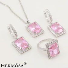 925 STERLING SILVER WOMEN'S PROM JEWELRY SET PINK KUNZITE EARRINGS RING NECKLACE