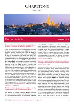 Myanmar Highlights - 8 August 2015 - Myanma Economic Holdings Ltd to acquire Fraser & Neave Ltd's share in Myanmar Brewery Ltd