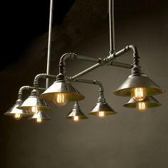 Home Lighting, Galvanised Plumbing Pipe Light Fixture For Kitchen Lighting Over Sink: Plumbing Pipe Light Fixture