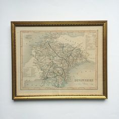 Small vintage framed map of Devonshire Devon England - atlas, cartography, study, office, traditional, old,county, city, town, regional, inn