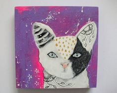 Original kitty cat painting mixed media art by thesecrethermit