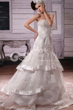 Floor-length Ball-Gown Train Sequins/Crystals/Appliques/Tiered Zipper Natural Chapel Sleeveless Organza White Elegant Strapless Wedding Dress