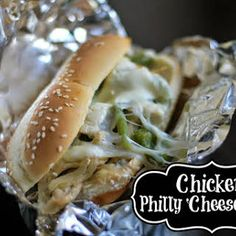 Chicken 'Philly Cheesesteak' with Oil, Butter, Chicken Breast, Garlic Powder, Pepper, Salt, Bell Peppers, Onion, Brown Sugar, Worcestershire, Provolone Cheese, American Cheese, Hoagie Rolls, Mayonnaise.