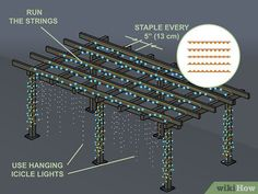 How to Hang Pergola Lights. As night falls, you may still want to enjoy the outdoors or entertain in your yard. Putting lights on your pergola will help create a comfortable and cozy space into the evening. Pergola Cost, Pergola Curtains, Small Pergola, Pergola Attached To House, Wooden Pergola, Backyard Pergola, Pergola Shade, Pergola Plans, Pergola Ideas