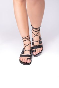 Hetaira black - Lace up sandals, greek sandals, flat sandals #RealLeather #LeatherSandals #ResortWear #Sandals2020 #HandmadeSandals #GreekSandals #FlatSandals #BlackSandals #LaceUpSandals #SummerShoes Greek Sandals, Lace Up Sandals, Flat Sandals, Designer Sandals, Black Leather Sandals, Resort Wear, Summer Shoes, Real Leather, Trending Outfits
