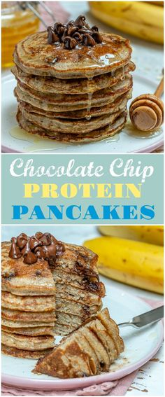 Clean Breakfast Chocolate Chip Protein Pancakes