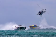 Bell 205 Chases off-shore powerboats