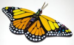 Large Yellow Fused Glass Male Monarch Butterfly (Item: 10002). $45.00, via Etsy.