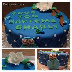 Gâteau au chocolat pour un Baptême. Un hibou avec une cravate :).