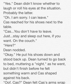 """Destiel: Closets and Cuddles"" 3/23 // Written by The Tardis-Impala"