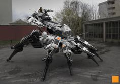 Scorpion/Spider drone (Bartley D, 2013) A robotic design from FightPunch. He shows the stature of a spider but engourges it in a way that makes it look large but still have the structure of a spider. This shows his influence but also shows his design choices in making a robotic version of an already known arachnid.