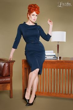 60's inspired ponte workwear dress with rolled collar 3/4 sleeves and back slit in navy | Pinup Girl Clothing