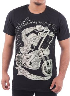 Addiction Men's Vintage Motorcycle Tattoo T-shirt Old School Multicoloured S
