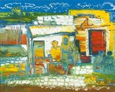 Figures in a Township - Walter Battiss - Art Brut, Expressionism, 1967