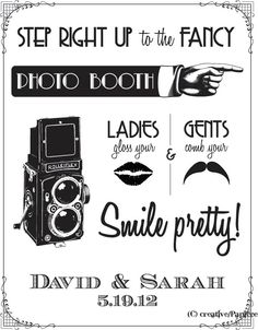 Custom Art Deco Photobooth Sign DIY Wedding Poster Printable... BLACK. $8.00, via Etsy.