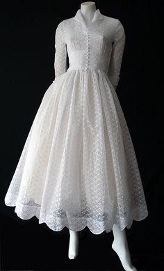 Wedding Dress: ca. 1950's, embroidered organdy.
