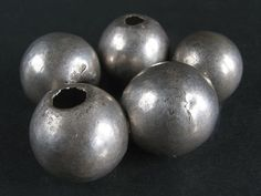 5 Old LARGE SPHERICAL HOLLOW SILVER beads. YEMEN. Hard to find!