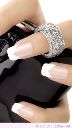 Amazing white tips with silver ring