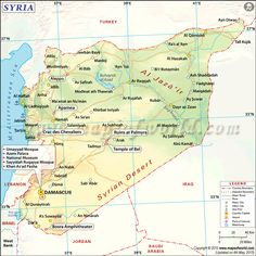 The SYRIAN ARAB REPUBLIC is located in Western Asia. It shares its borders with Lebanon and Mediterranean Sea to the west, Turkey to the north, Iraq to the east, Jordon to the south, and Israel to the southwest. Muslim 87% (official; includes SUNNI 74% and Alawi, Ismaili, and Shia 13%), Christian (includes Orthodox, Uniate, and Nestorian) 10% (includes Orthodox, Uniate, and Nestorian), Druze 3%, Jewish (few remaining in Damascus and Aleppo)
