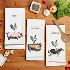 Homestead Dish Towels with Wooden Spoon in 3 Styles by Two's Company - Seven Colonial Single Story Homes, Two's Company, Wooden Spoons, Dish Towels, Hostess Gifts, Homesteading, Gift Tags, Cow, Place Card Holders