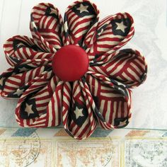 Red White and Blue Vintage Bunting Kanzashi
