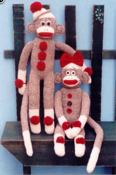 Boy and Girl sock monkeys from http://www.happyheartpatterns.com/fabric.html