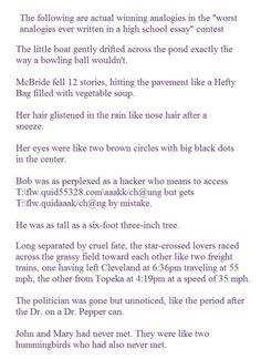 Worst analogies ever written in a high school essay