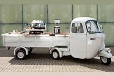 Espressomobil, Cologne, Germany. Love this fresh rustic set up.