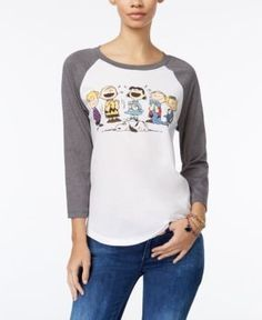 Peanuts Juniors' Graphic Baseball T-Shirt - Gray XS