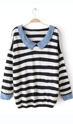 Cowboy collar striped  sweater black. very cute