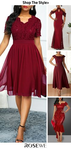 Hot Sale & Burgundy Dress For Women - - Pretty Outfits, Pretty Dresses, Beautiful Dresses, Homecoming Dresses, Bridesmaid Dresses, Illustration Mode, Women's Fashion Dresses, Fashion Dolls, The Dress