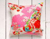 Fluro Vintage Japanese Kimono Cushion Pillow 'Fans and Crane' (1960's)