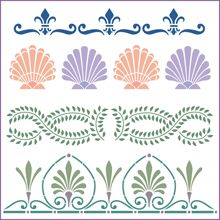 Borders Stencil Category | The Artful Stencil | Delightful home decor and crafting stencils | US Shipping in only 5 days. We ship all over the world | Floral Borders, Holiday Border Stencils, Popular Borders, Children Borders | Decorating, Stenciling, Interior Decorating, Bathroom, Bedroom, Motif, Christmas, Banner, Ducky, Scenes, Mural, Seashell, Sea Life, Theme, Check, Swag, Scallop, Arch, Door, Window, Seashell, Vines