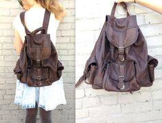 1980's Leather Backpack // Large Leather Pack // by KittenSurprise