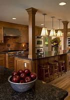 Beautiful Brown Wooden Kitchen Layout with Cool Pillared Wooden and Dark Mar… Kitchen Designs. Beautiful Brown Wooden Kitchen Layout with Cool Pillared Wooden and Dark Marble Top… - High Quality Marble Kitchens Rustic Kitchen Design, Wooden Kitchen, Interior Design Kitchen, New Kitchen, Kitchen Dining, Kitchen Designs, Kitchen Ideas, Kitchen Decor, Country Kitchen