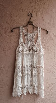 Romantic beach bohemian Silk and lace with crochet by BohoAngels, $60.00.