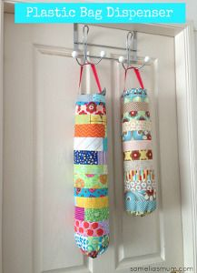 Organize those messy but useful plastic bags from your shopping.  Reusing the bags are good for environment but often pesty to store.  Here is  a colorful and fun solution!