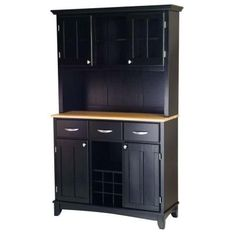 Home Styles 3-Drawer 44 in. W Black Buffet with Wood Top and Hutch