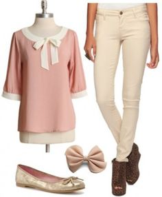 Marie: The Aristocats  Wear a pretty pink bow-collar blouse with a pair of tan skinny jeans for an updated girly aesthetic. To finish off the ensemble, slip on a pair of metallic gold flats and put in a cute hair bow for a look Marie would be sure to approve of! dvchic