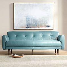 "Digio Adda 80"" Wide Blue Leather Sofa"