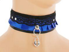 Black blue satin lace Day Collar, Pet Kitten Gear Collar, Choker, DDLG, Little Girl, Princess Kittenplay, Petplay BDSM, Collar Kitten 2J