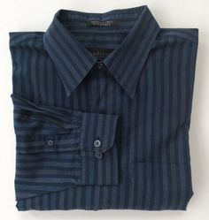 Mens Van Heusen Shirt Size Large Blue Striped Button Down Stain Wrinkle Free #VanHeusen #ButtonFront