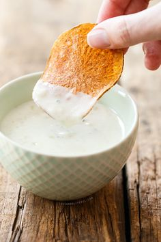 Homemade Potato Chips with Blue Cheese Dipping Sauce